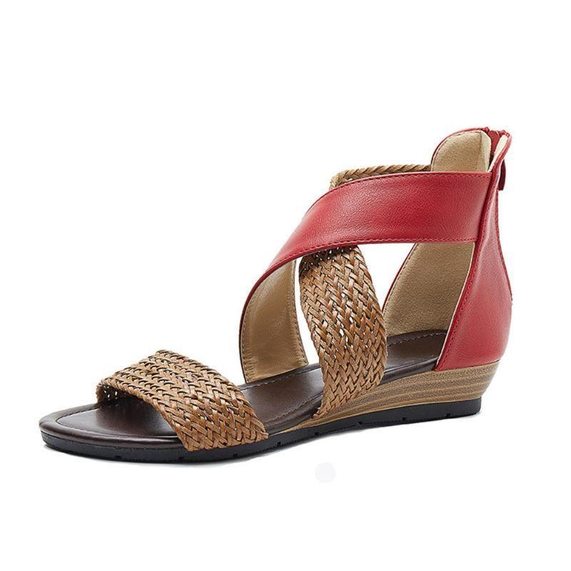 Senhoras sapatos Vintage Sandals Boho Woven Casual Anti-derrapante para Mulheres Summer Beach XIN-Shipping