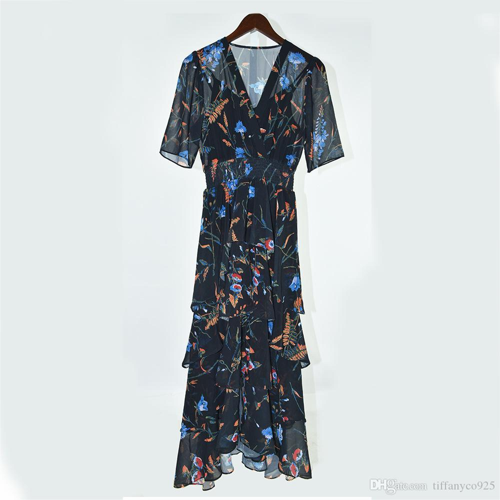 2020 весна лето белый / черный с коротким рукавом V шеи цветочный принт многоуровневый рябить деталь середины икры платье мода повседневные платья MD09173128