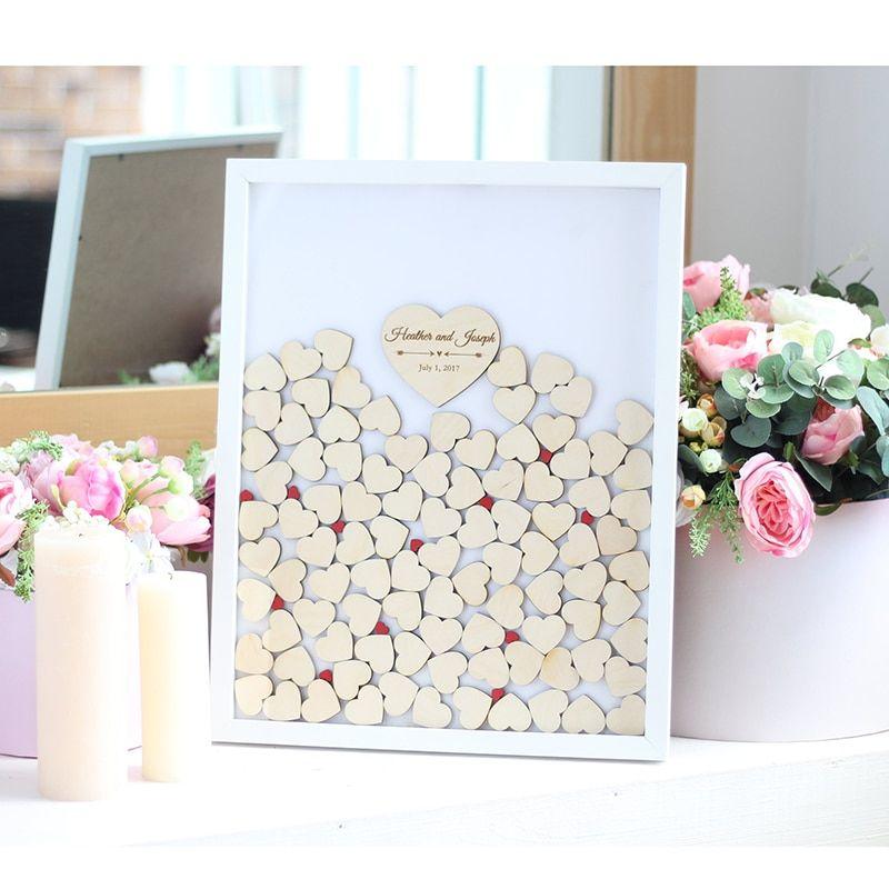 Romantic Wedding Guest Book White Theme Invitato a un matrimonio su misura Sigature goccia Top Box con cornice bianca