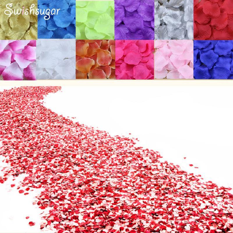 100pcs Silk Rose Flower Leaves Petals Wedding Supplies Favor Party Decorations C19041701