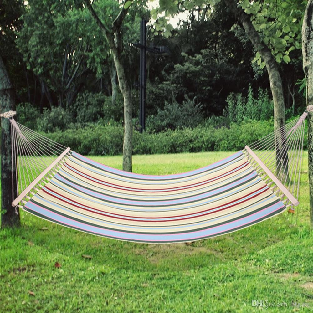 2020 Garden Swing Hammock Outdoor Single 2 Person Camping Hammocks Hanging Chair Outdoor Leisure Bed Sleeping Bags Canvas Stripe From Btgate 50 81 Dhgate Com