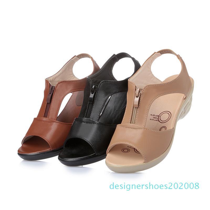 DONGNANFENG Mulheres Old Mother Laides Feminino Sandálias Shoes Cow couro genuíno PU Praia verão esfria Zipper Tamanho 35-43 d08