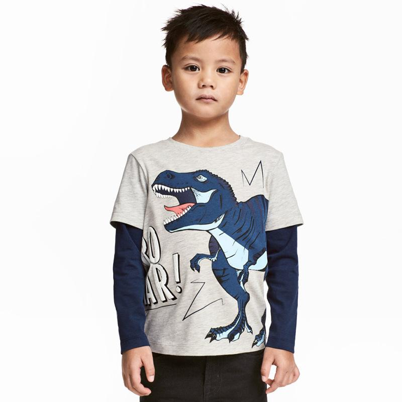 1-6 Years Old Children 100% Cotton Clothing Dino Long Sleeve Round Neck Tops Kids Baby Boys Cute T-shirt Sweatshirt Cheap Wholesale
