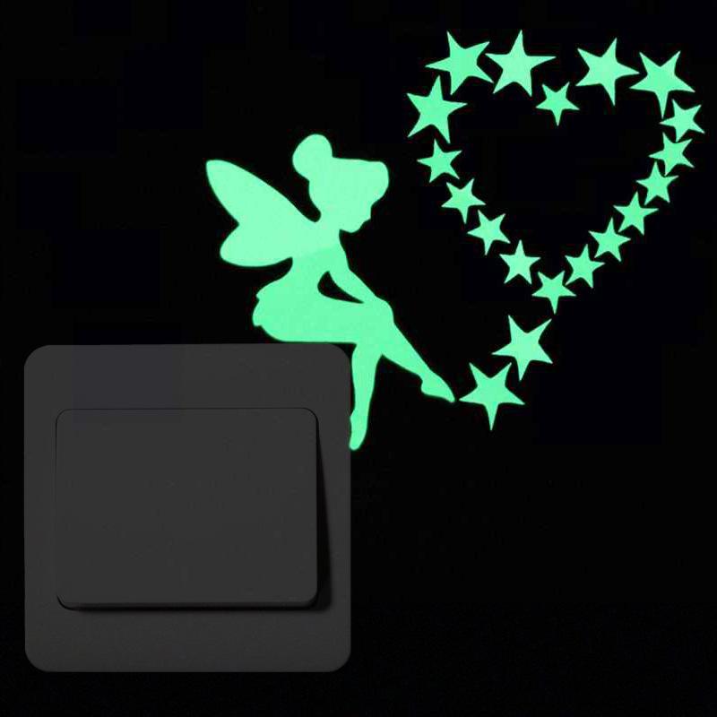 Night Light Sticker Switch All Kinds of Night Light Wall Sticker Cat Star Fairy Carving Decorative Sticker