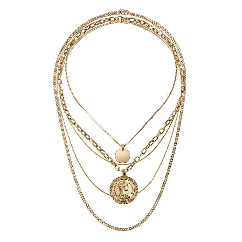 Rongho Neues Design Multi Schichten Metall Menschlicher Kopf Colliers Halskette Gold Münze Kreis Anhänger Halskette Vintage Ketten Halskette