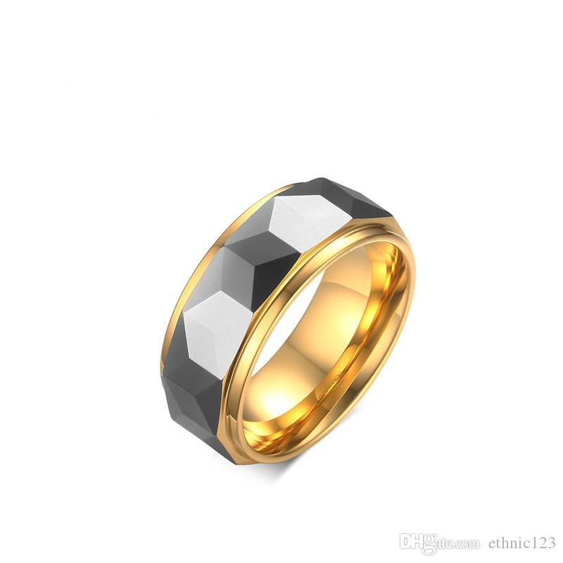 Silver Gold Color Fashion Simple Men's Rings Stainless Steel Stereoscopic Ring Jewelry Gift for Men Boys J043