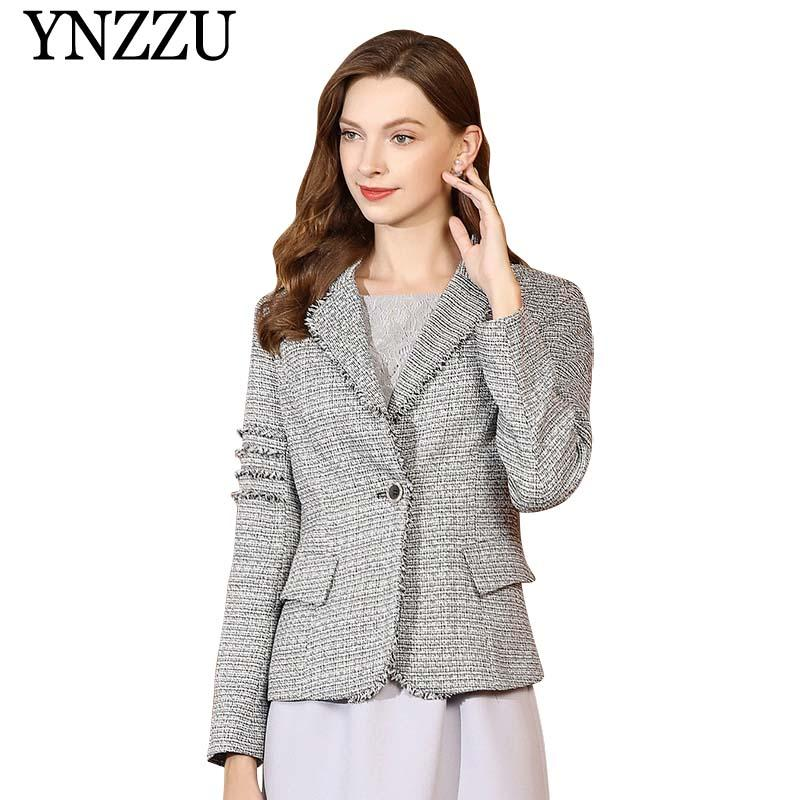 Super descuento disfruta de un gran descuento buscar genuino 2019 Vintage Tweed Blazer Women 2019 Spring Short Style Single Button Blend  Jacket Coat Mujer Elegant Office Ladies Blazer Coat AO875 From Lichunn, ...
