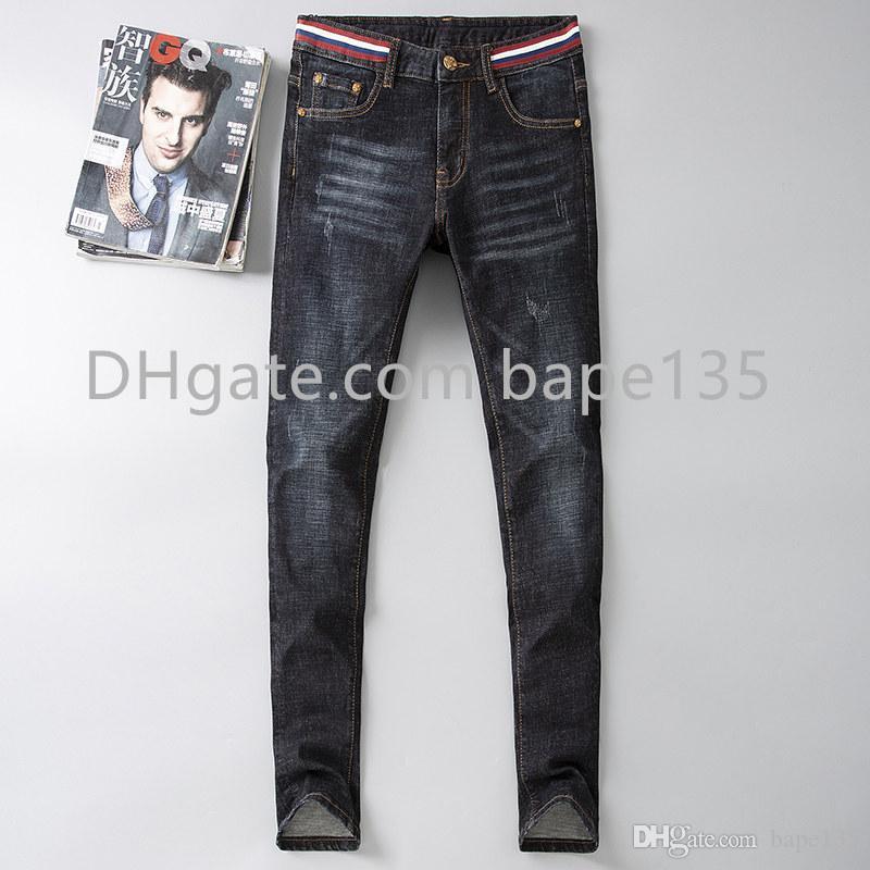 Compre Hombres Gucci Gucci Jeans Hombre Del Disenador Pantalones De Mezclilla Pantalones De Moda De Lujo De La Marca De Estilo Casual N7 Azul G Flaco Mezclilla Hombres Pantalon De Jogging A