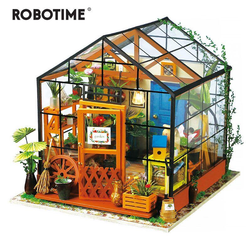 Robotime 5 أنواع DIY بيت الدمية مع مصغرة أثاث الأطفال الكبار دمية خشبية مجموعات لعبة DG Y200704