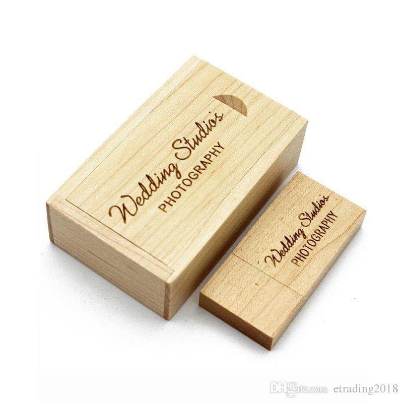 브랜드 새겨진 단풍 나무 USB 플래시 드라이브 USB 상자 웨딩 사진 메모리 저장 디스크