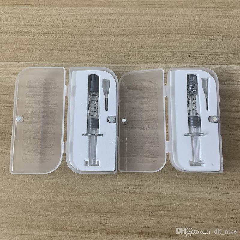 Vidro 1 ml Seringa Embalagem Blister Luer Bloqueio Luer Cabeça 1 ml injector blister embalagem grosso co2 atomizador de óleo dabber ferramenta