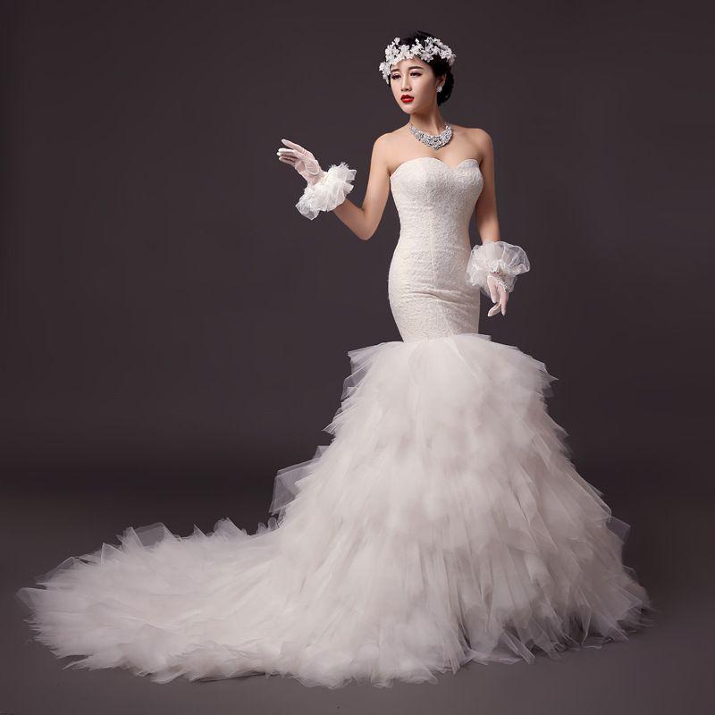 우아한 연인 인어 웨딩 드레스 2M 기차 Vestido 섹시한 계층 탑 레이스 Organza 웨딩 드레스 신부 드레스 가운 드 마리에
