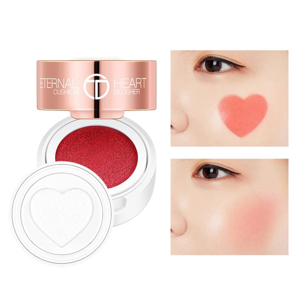 4ColorWaterproof Air Kissen Blusher Falten Herzform Schimmer Blush Rouge Contour Comestic Makeup Kissen Blush