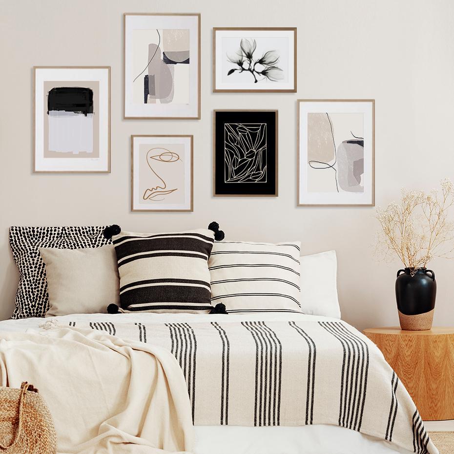 Padrão Bege escova abstrata moderna Paisagem pintura da lona posters e impressões Pictures Wall Art para Living Room Home Decor