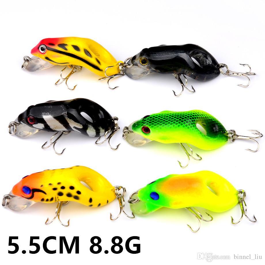 6 Color 5.5cm 8.8g Frog Fishing Hooks Fishhooks 6# Hook Hard Baits & Lures Fishing Tackle B-006