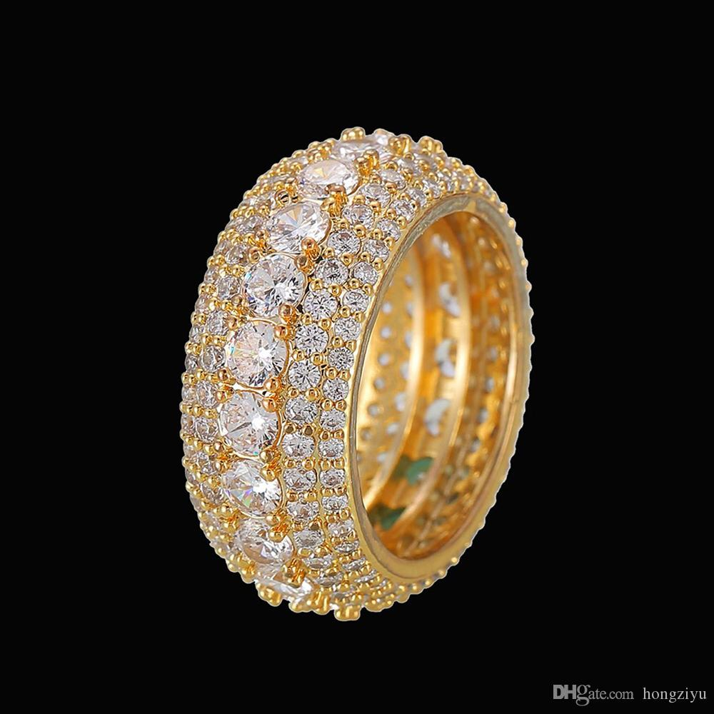 5 Row Solid Men's Ring 18K Copper Charm Gold Silver Color Ice Out Cubic Zircon Iced Ring Fashion Hip Hop Jewelry