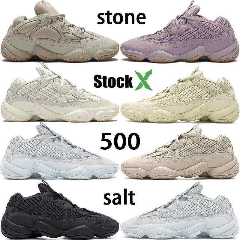2020 Yeni 500 Kemik Beyaz Taş Koşu Ayakkabı 500s Yumuşak Vizyon Tuz Süper Ay Sarı Yardımcı Siyah Kanye West Bay Bayan Sneakers Allık