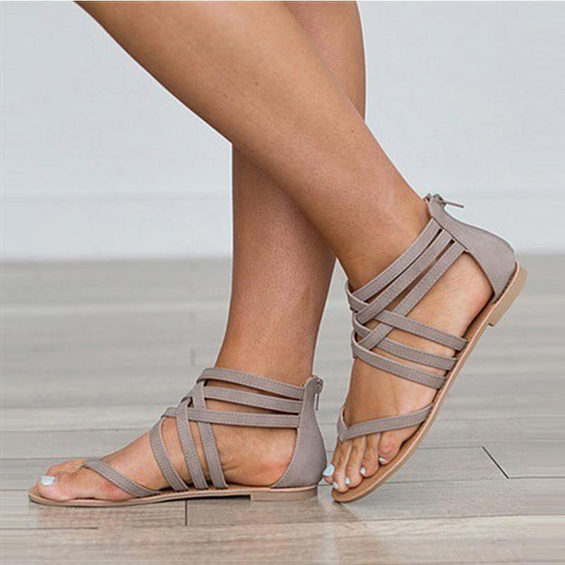 Fashion Gladiator For Summer Female Flat Rome Style Cross Tied Sandals Shoes Women 43 Y200405