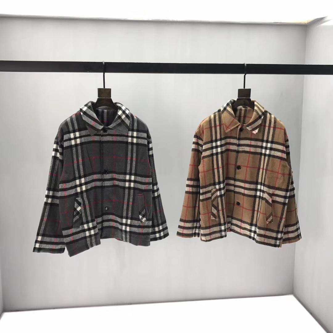 Damen karierte Jacke lose Männer Wollen Jacke trägt lässige Männer und Frauen Paar Modelle Wollmantel 2019 Herbst und Winter neuer Mantel QQ3