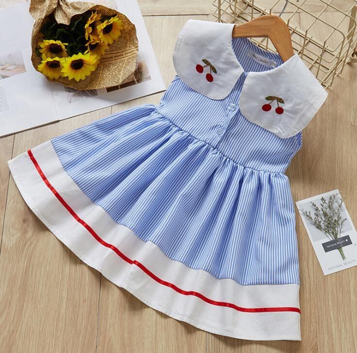 Çocuklar tasarım elbise kız şerit Elbise çocuk Kiraz toplama yaka Prenses elbiseler 2019 Yaz moda Butik Çocuk Giyim