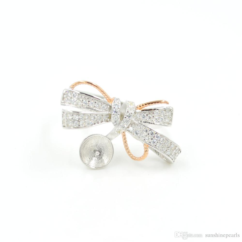 Оптовая продажа стерлингового серебра с бантом кольцо жемчуг крепление регулируемое S925 кольцо фитинги на продажу для 9-10 мм жемчуг PS4MJZ049