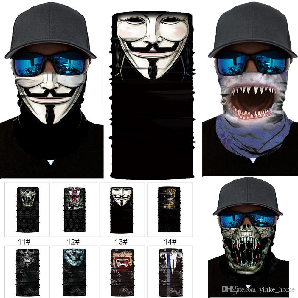 Esqueleto de Halloween la mascarilla del Máscaras bufanda Joker diadema Pasamontañas cráneo de la mascarada de esquí de motos ciclismo pesca Deportes al aire libre