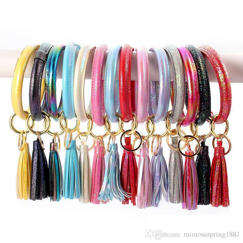Кожа PU кисточкой браслет брелок персонализированный Сплошной цвет круглый кожаный браслет кисточкой кольцо для ключей 14 цветов