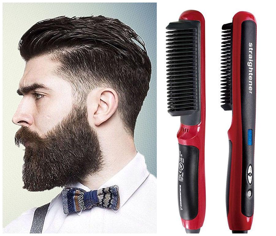 Multifonctions Peigne Barbe rapide Hommes brosse Lisseur Curling Bigoudi défriser les cheveux bouclés Beauté cheveux Styler Outil