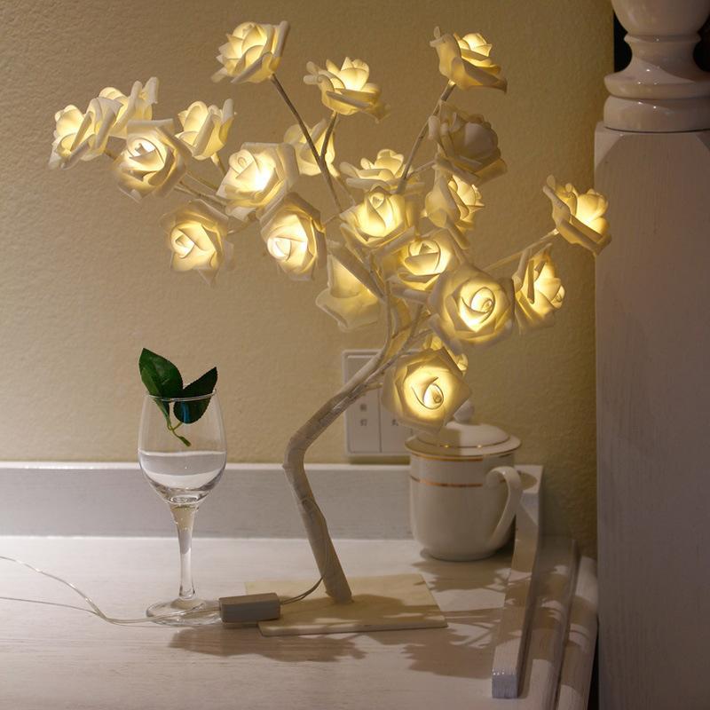 LED Rose Décor À La Maison Creative Night Light Intérieur Floral Arbre Table Table Lampe de Bureau AC 220V 110V Luminaires De Vacances Bandes