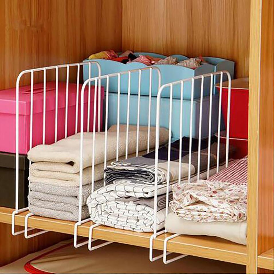 Em prateleiras Stock 3PCS Closet prateleira divisores economia de espaço fio design Wardrobe Branco Peito gaveta Organizador Roupa armazenamento Rack T200319