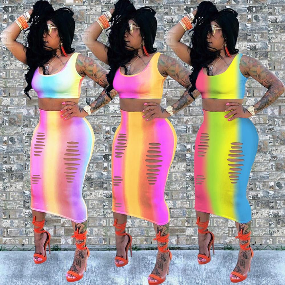 Роскошные радужные платья из двух частей женские без рукавов Майка растениеводство топ и юбка комплект летняя вечеринка Bodycon выдалбливают сексуальное повседневное миди платье