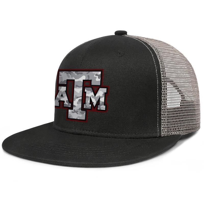 Texas AM Aggies Gri Kamuflaj Futbol-06 erkek ve ızgara beyzbol şapkası serin uk Kalça Hopflat brimhats futbol Logo Mesh Etkisi womens