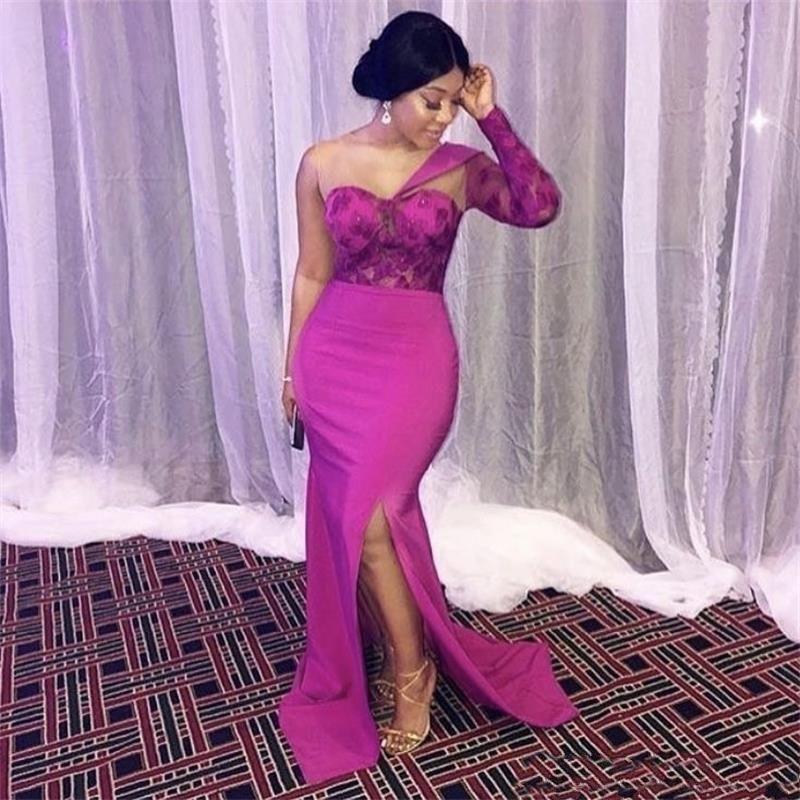 Lace nigeriano 2k19 ragazza sirena Prom Dresses neri Firl Pageant i vestiti convenzionali del cocktail di sera del partito di usura robe de soiree