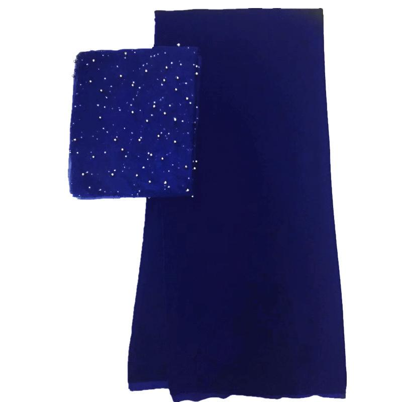 royal blue lace fabric 2019 high quality 5yards velvet lace with 2yards beaded scarf latest african velvet lace fabric