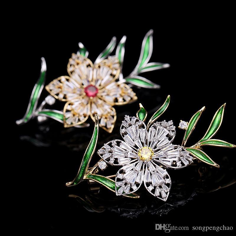 Moda simple circón flor broche feminidad personalidad Corea salvaje suéter pin lujo decoración goteo broche accesorios de las señoras