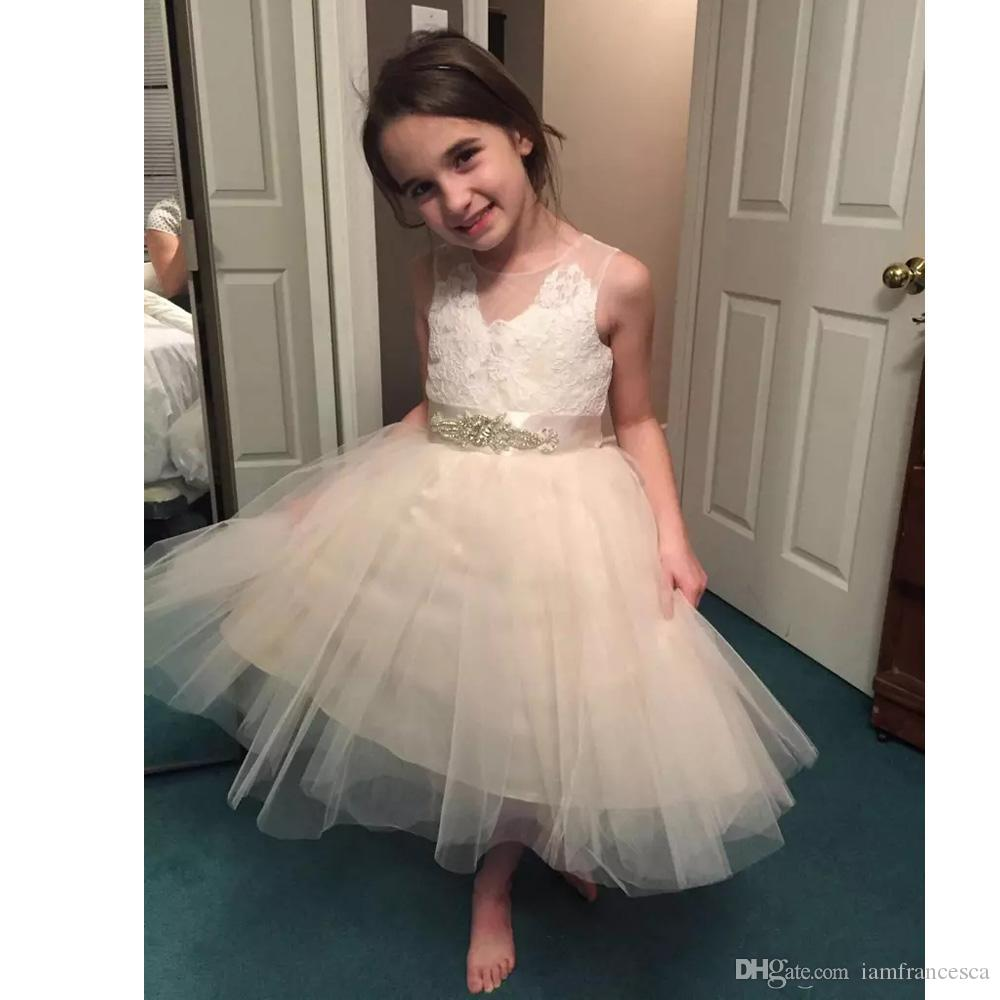 40a6c58091 ... Cute Lace and Tulle Flower Girls Dresses Sleeveless Knee Length Tutu  Skirt Girls Birthday Party Kids