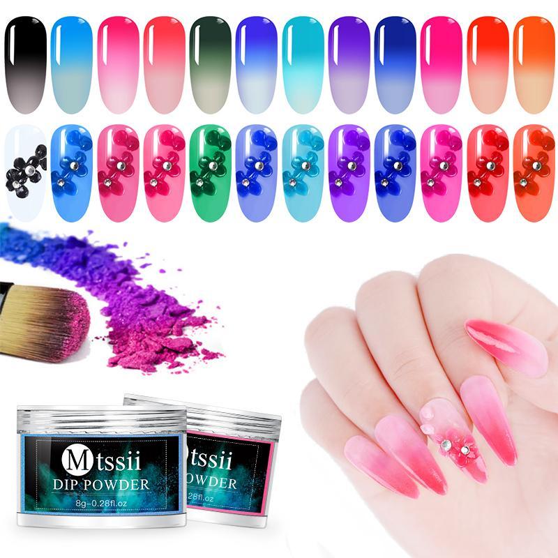 12 Цветов Тепловой Падение Ногтей Пудра Изменение Цвета Dip Nail Glitter Art Гель-Лак Пигменты 3 В 1 Маникюрные Инструменты
