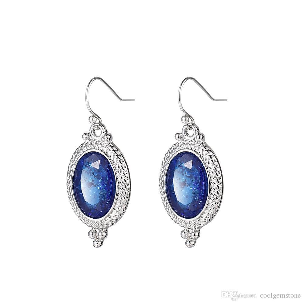 3 pary / partia Najnowszy owalny w kształcie niebieski Topaz Gemstone Vintage Silver Drop Weddine Dangle Hook Kolczyki Biżuteria