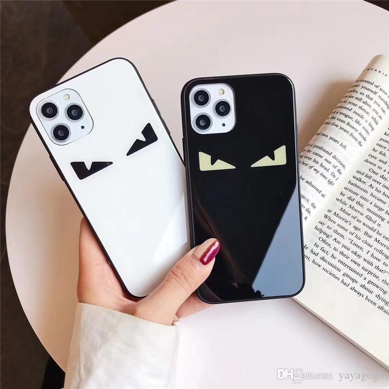 1pcs caja del teléfono de lujo para el iPhone 6S 7 8P XS XR 11 PROMAX ojo de la manera con la cubierta trasera caso del teléfono del diseñador de cristal