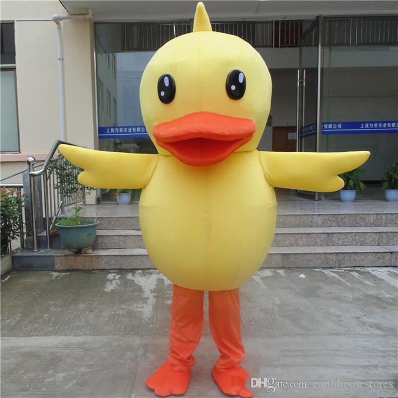 2019 venta directa de fábrica nave rápida traje de la mascota del pato de goma gran pato amarillo traje de dibujos animados fiesta de disfraces de adultos