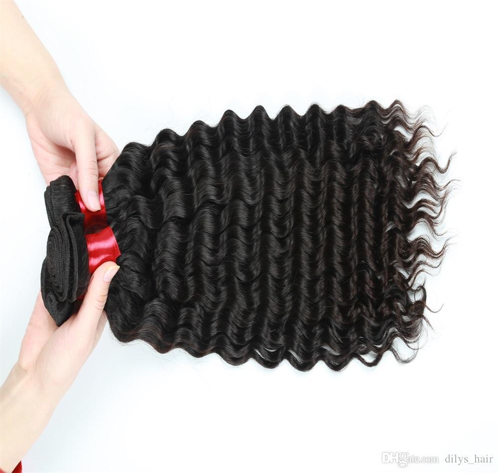 موجة عميقة لحمة الشعر 3 حزم بيرو الهندي الماليزي جميل 100 ٪ عذراء الشعر البشري ملحقات اللون الأسود 8-28inch