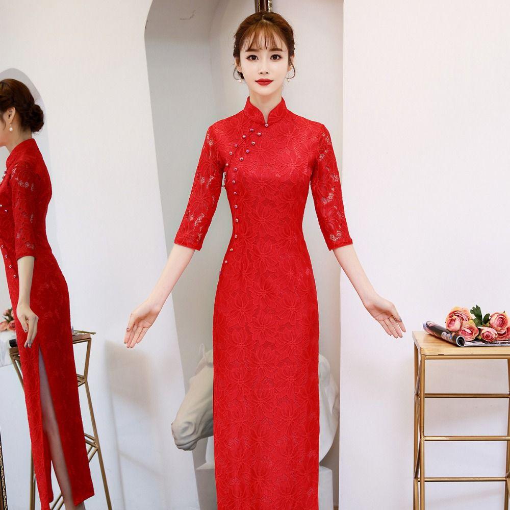 chinese dress cheongsam dress qipao modern robe longue femme traditional costume oriental red china girl women dresses