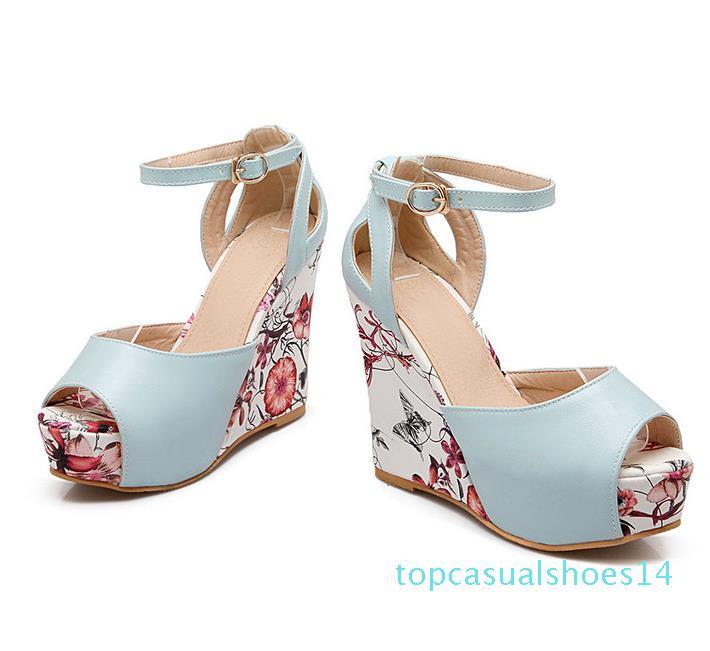 ViVi Lena sweet floral prints platform wedges heels pink blue white size 34 to 40 t14