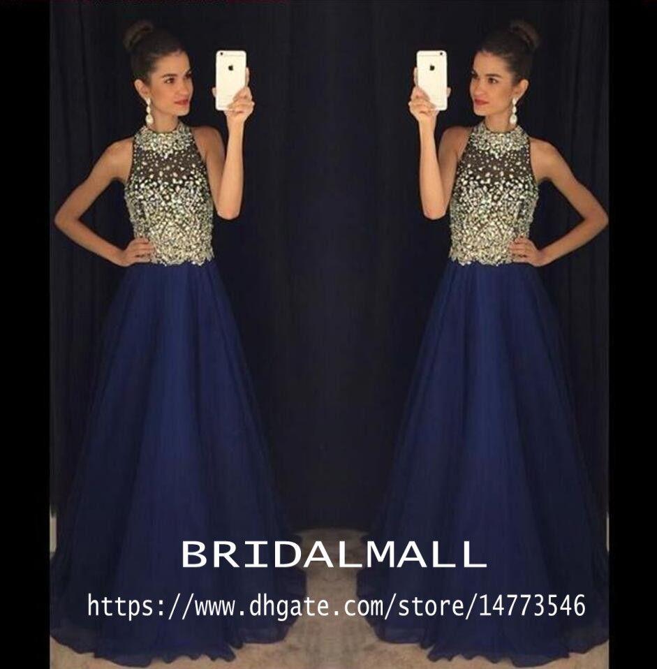 Großhandel Marineblau Perlen Kristalle Chiffon Lange Abendkleider 11  Sheer Halter Elegante Formale Abendkleid Kleider Für Besondere Anlässe  Party