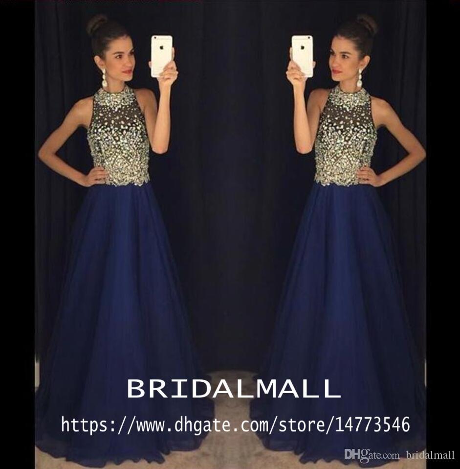 Темно-синие бисерные кристаллы шифоновые длинные платья выпускного вечера 2020 Sheer Холтер Элегантное вечернее платье для особых случаев Платья для вечеринок