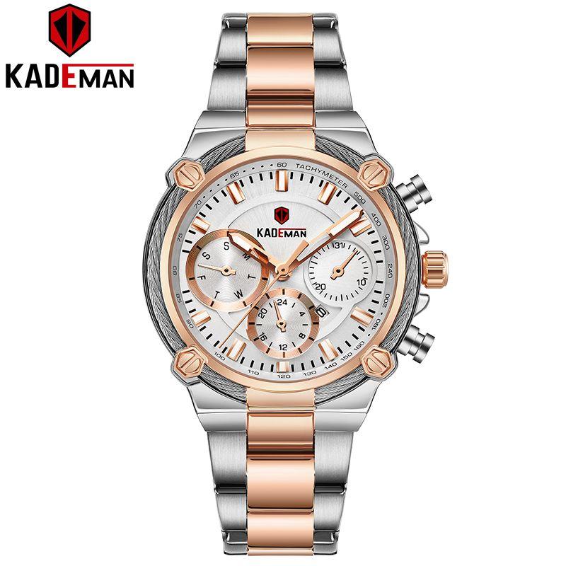 836 NOVO Chegamos Kademan Ladies Relógios projeto original Vestido Mulheres relógio de pulso 3TAM completa Aço De Quartzo Moda Casual