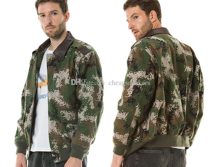 Veste de coton camouflage de vol de luxe Lane Mens avec manteau mince en coton à col chèvre US Air Force
