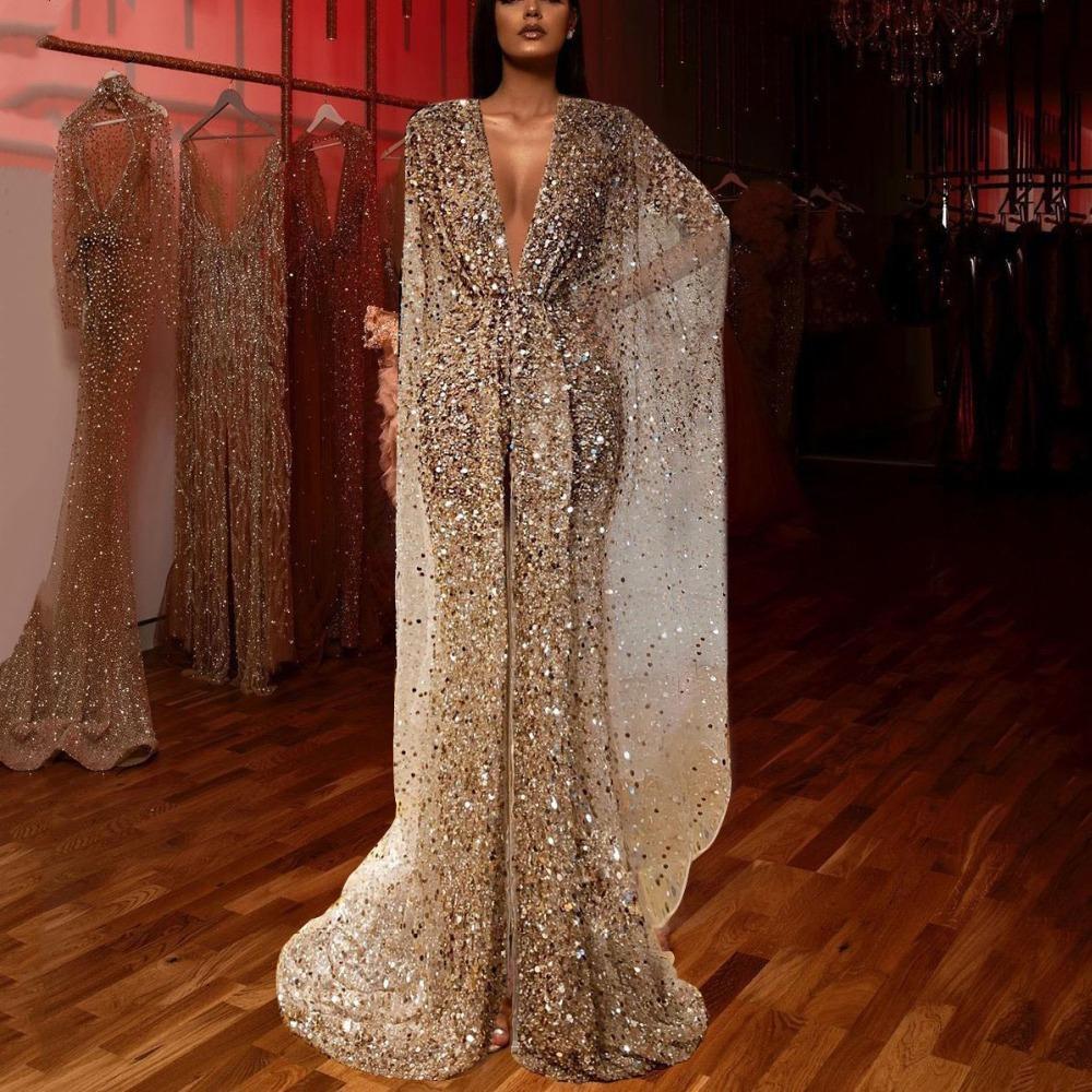 Élégant col en V profond robes de soirée scintillante Paillettes perles en cristal longue robe de bal haute de Split Glitter Formal Party Robes