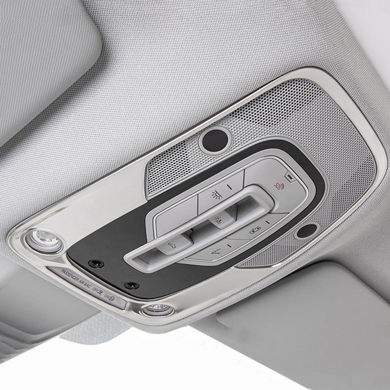 Quadro Car Styling Frente Telhado Reading Lamp Decoração decalques para Audi Q5 FY 2018 2019 Aço inoxidável Acessórios Interior
