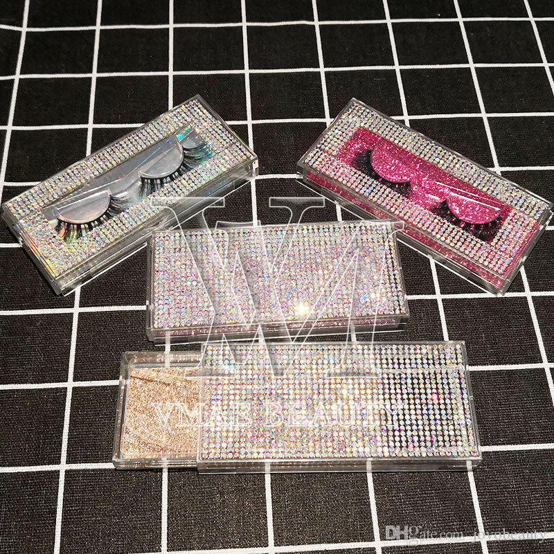 Custom 15 styles Eyelashes Packing Boxes diamond Lashes Package Customize Storage Cases Makeup Cosmetic Case Mink False Eyelash 1Pcs